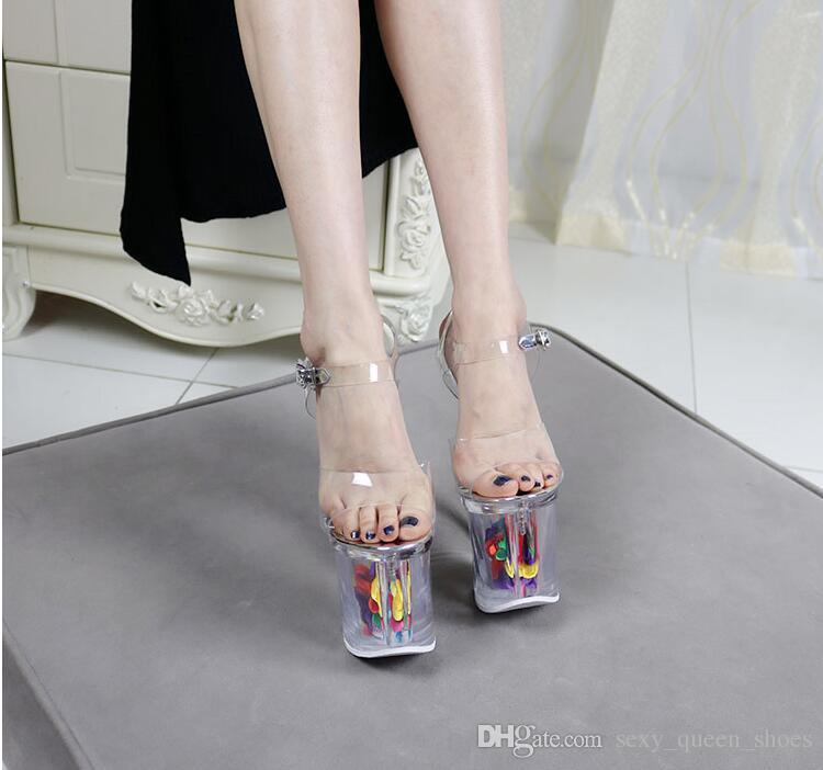 Livraison Gratuite Discothèque Mesdames Faves Fleur Plate-Forme Pompes Femmes Talons Hauts Sandales Sexy Peep Toe Chaussures D'été En Acier Talon Plate-forme 11 cm