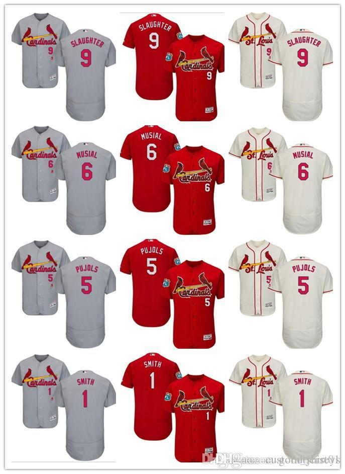 newest bbbc6 585a0 custom Men women youth St. Louis Cardinals Jersey #9 Enos Slaughter 1 Ozzie  Smith 5 Albert Pujols 6 Stan Musial Red Baseball Jerseys