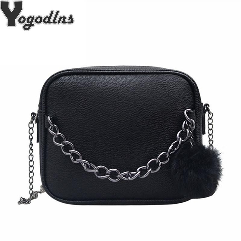 0472d57213 2019 Fashion Women Messenger Bag Chains PU Leather Shoulder Bag ...
