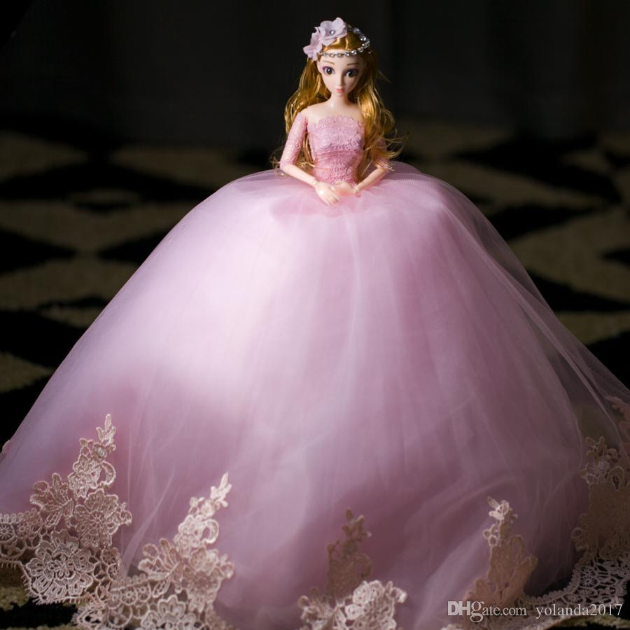 Compre 3d Real Ojo Rosa Barbie Vestido De Novia Muñeca Falda Grande ...
