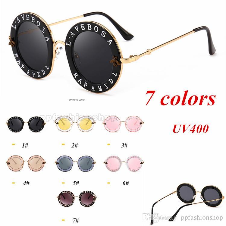 1d30eaca2 New Personality Letter Round Sunglasses Bee Fashion Retro Metal Sunglasses  UV Protection Sunglasses Reflective Coating Eyewear Womens Sunglasses  Sunglasses ...