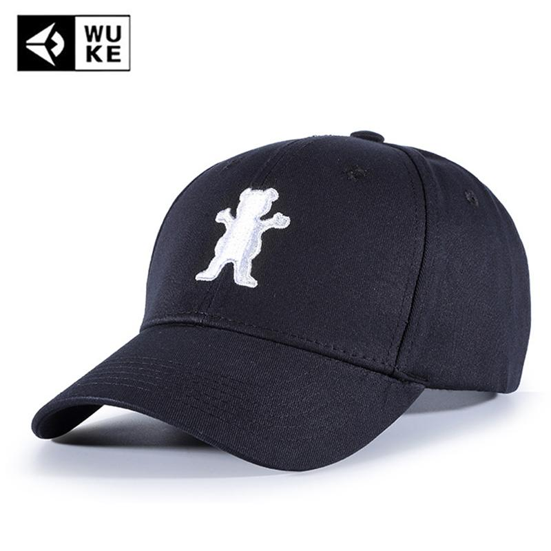 WUKE Brand Casual Snapback Baseball Caps For Women Men Cotton Black Hip Hop  Caps 2018 Bear Pattern Embroidery Dad Hats Casquette Caps Online Hats And  Caps ... 66ae1faed29