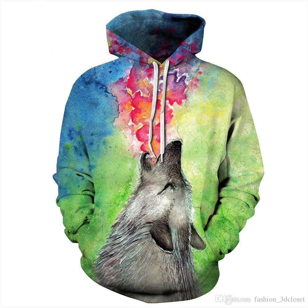 Bear Fire 3D Hoodie Men Hip Hop Sweatshirt Hot Sale Graffiti Tracksuits Fashion Hand-print Hooded Clothing New Arrival Mens Tops