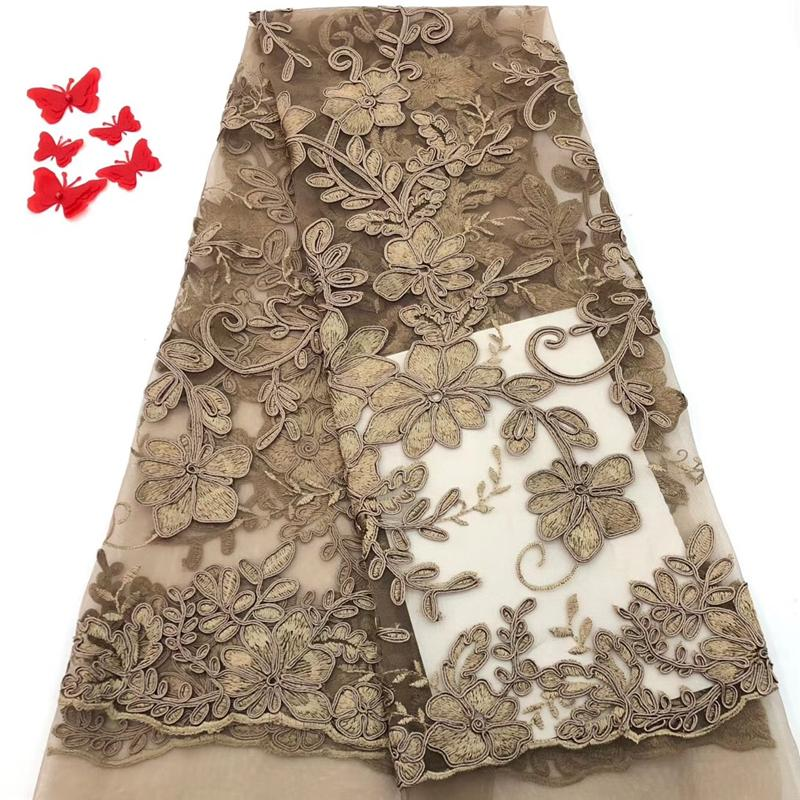 VILLIEA High Quality African Lace Fabric Gold Color African Mesh Cord Lace Guipure Lace Fabrics For Nigerian Embroidery Wedding