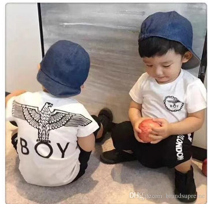 London boy T -shirt +short pants for children eagle short sleeve gown Cool tees Street printing clothing Unisex cotton Tshirt