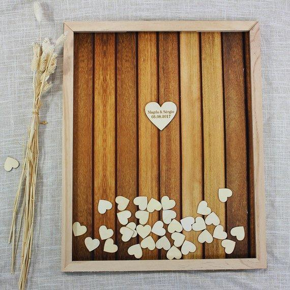 2018 customized wood wedding guest book alternativesrustic hearts sign in guest book drop boxpersonalized bridal shower memory book from zhongfuwedding