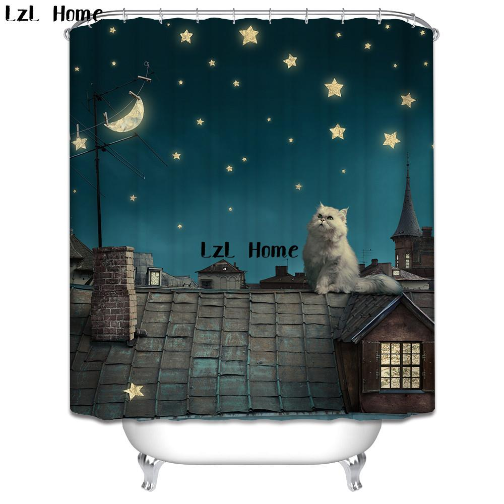 2018 Lzl Home Various Size Cute Cat Shower Curtain Polyester