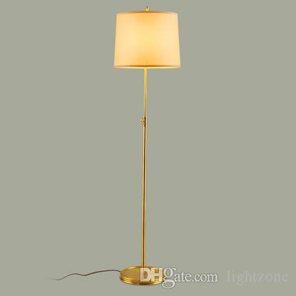 2018 Dimmable Led Floor Lamps 110v 240v Round American Retro Floor Lights  Copper Stand Fabric Lampshade Sitting Room Sofa Edge Beside Lamps From  Lightzone, ...