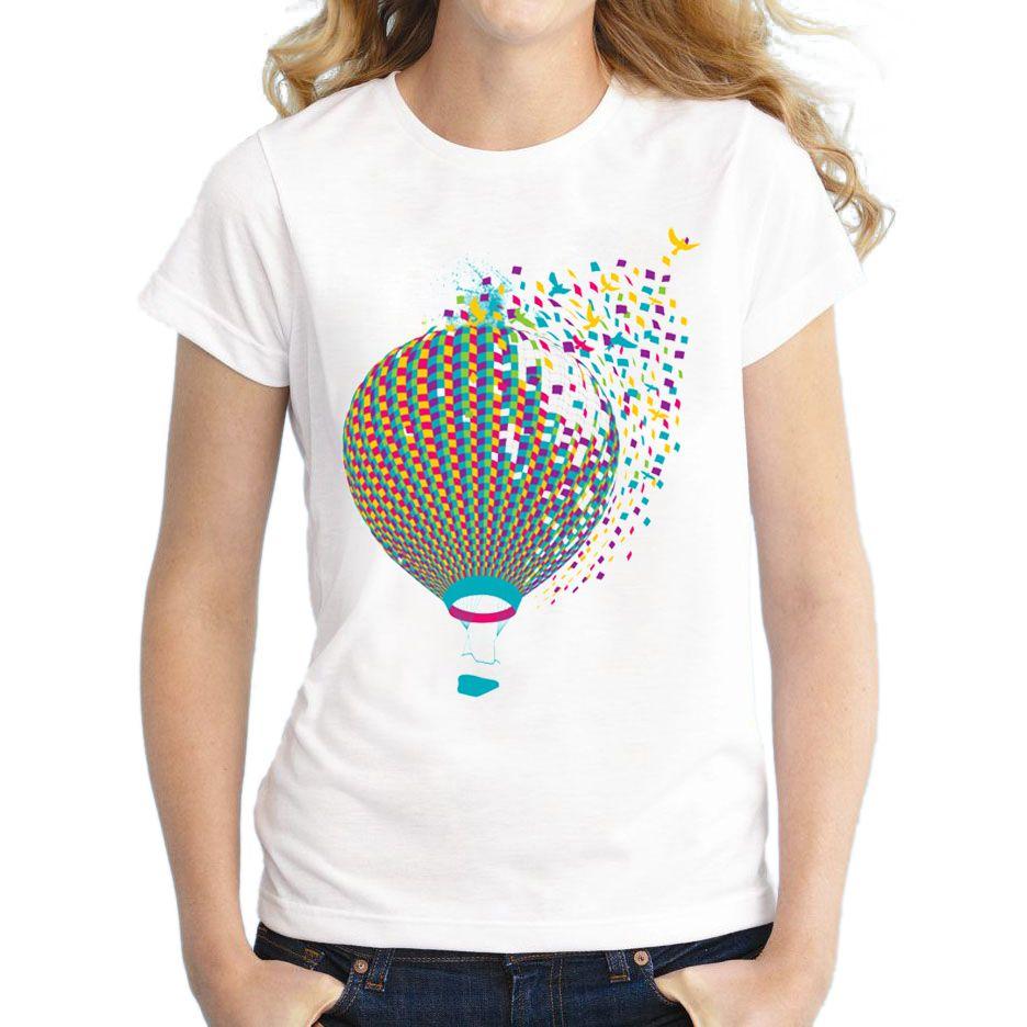 De Del Mujer Compre Camiseta Verano Diseño 2018 La Moda Tiempo Globo qwTx6SAp