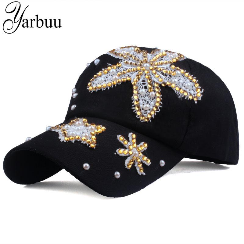 3c5b228795f1d YARBUU Brand Cap Flower Baseball Caps For Women New Fashion High Quality  Rhinestone Denim Cap Hat Solid Colour Casual Snapback Hatland Brixton Hats  From ...