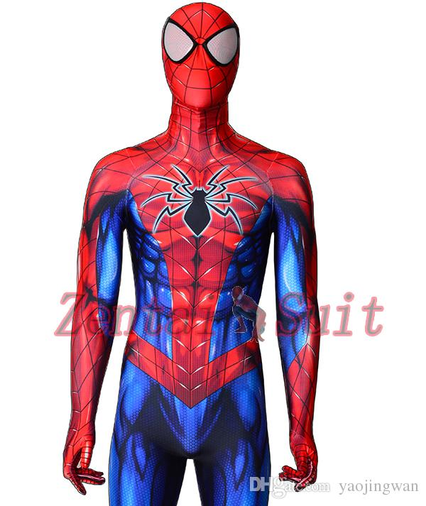 2018 Newest Spiderman Costume 3D Printed Lycra Spandex Spider-man Superhero Costume Halloween Fullbody Zentai Suit For Kids/Adult