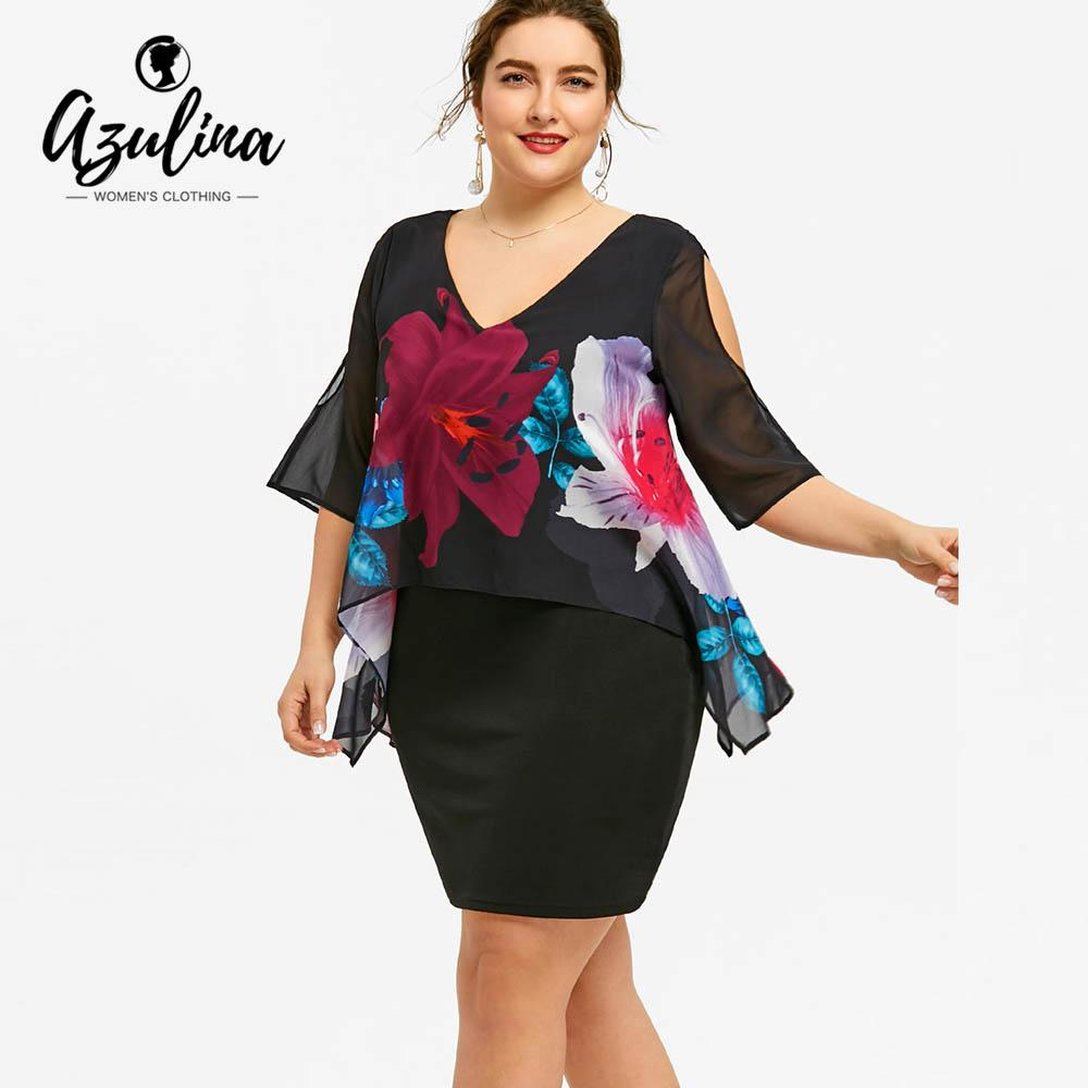 72c361d9466 2019 AZULINA Plus Size Slit Sleeve Print Double Layer Dress Women V Neck  Capelet Bodycon Dresses 2018 Summer Office Lady Dress Robe From Caesarl