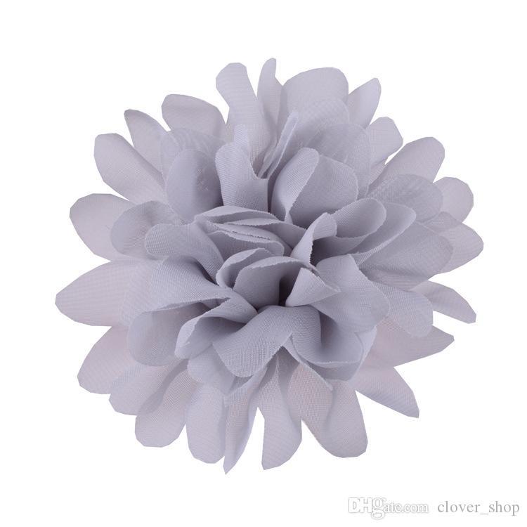 Moda de Nova Big Chiffon Cabelo Flores 10 centímetros Headband DIY Flores sem Grampos planos Voltar frete grátis