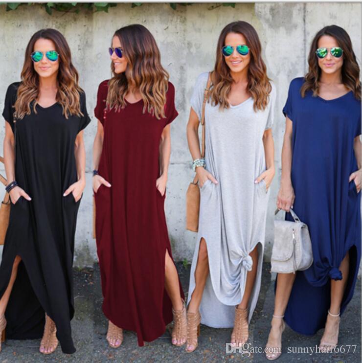d36299659ec4 2018 Women S Casual Loose Pocket Long Dress Short Sleeve Split Maxi Dresses  Solid Color Stitching Short Sleeved V Neck Fork Swing Q37 Black Dresses On  Sale ...