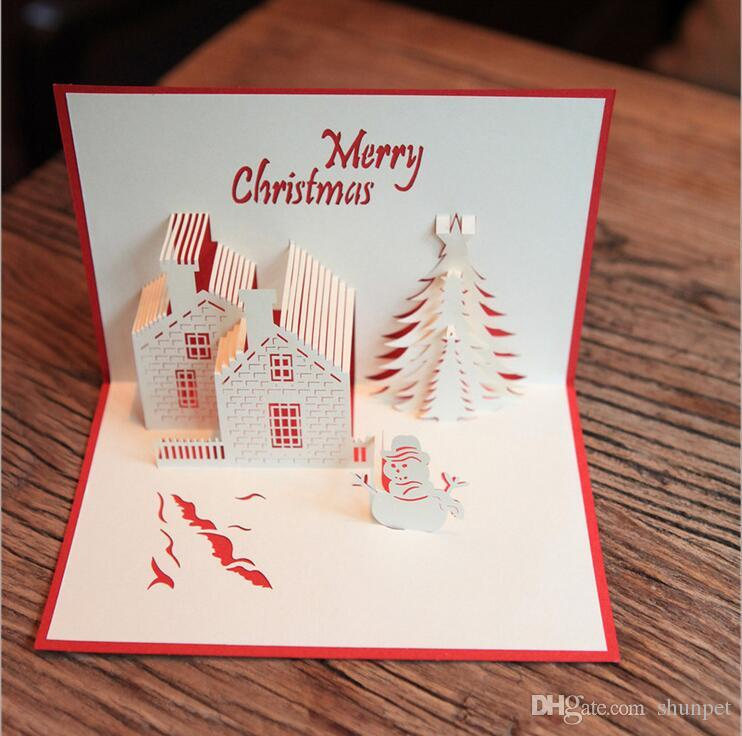 New 3d Pop Up Merry Christmas Cards Castle Tree Christmas Card