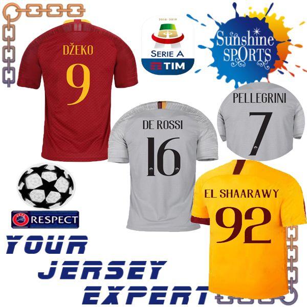 8f7915f3cbb Roma Soccer Jersey 18 19 Home Red Away Gray Third Yellow DZEKO TOTTI ...