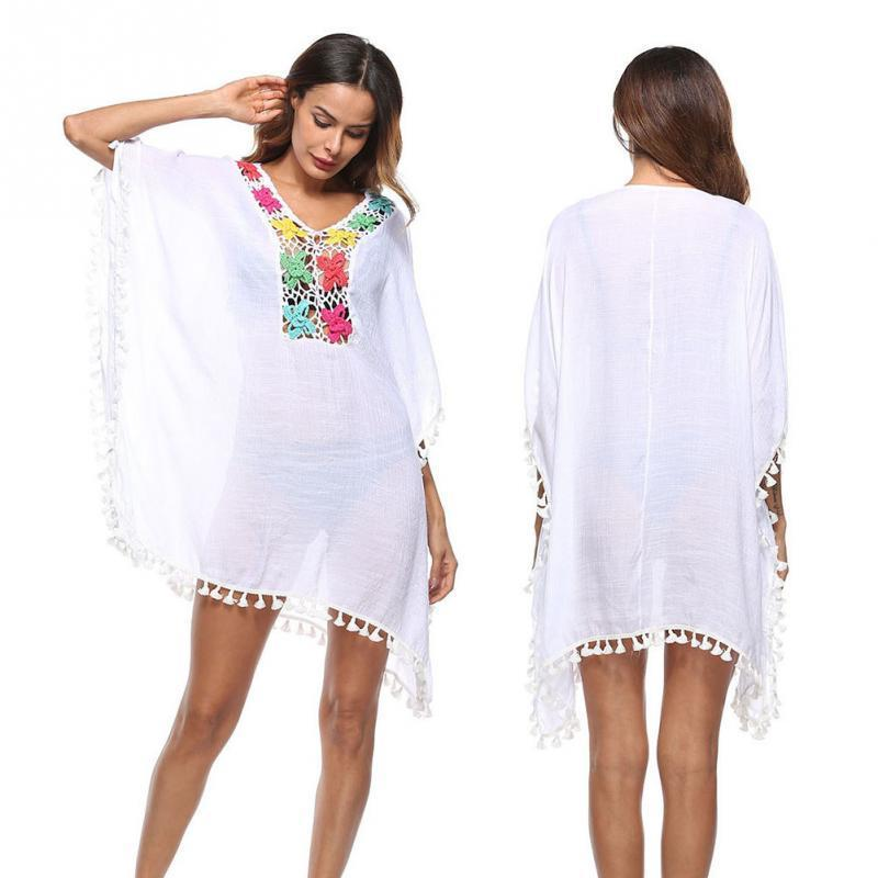 cc1861f30f2 2019 New Fashion V Neck Sexy Tassels Dress Cloak Sleeves Loose Causal Dress  Boho Style Summer Solid Dress For Women Halter Dress Blue Dresses From ...