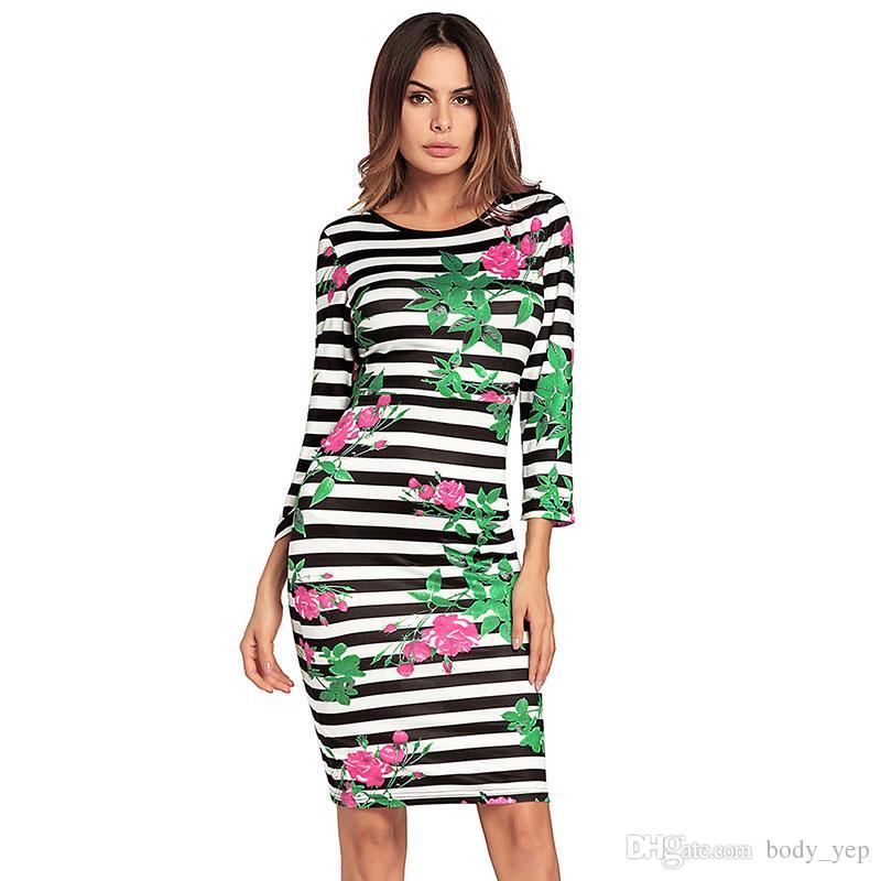 1aa6f34d2 Compre Listrado Vestido Sem Encosto Mulheres Verde Floral Impresso Vestido  Preto E Branco Listra Vestido De Festa De Casamento Vestidos Baratos Saia  De ...