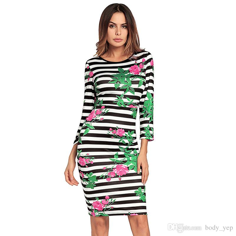 Striped Backless Dress Women Green Floral Printed Dress Black And