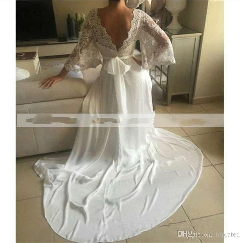 2019 Günstige Bohemian Brautkleider Illusion Lace Backless Langarm Tiefem V-Ausschnitt Brautkleider Boho Chiffon Plus Size Brautkleider