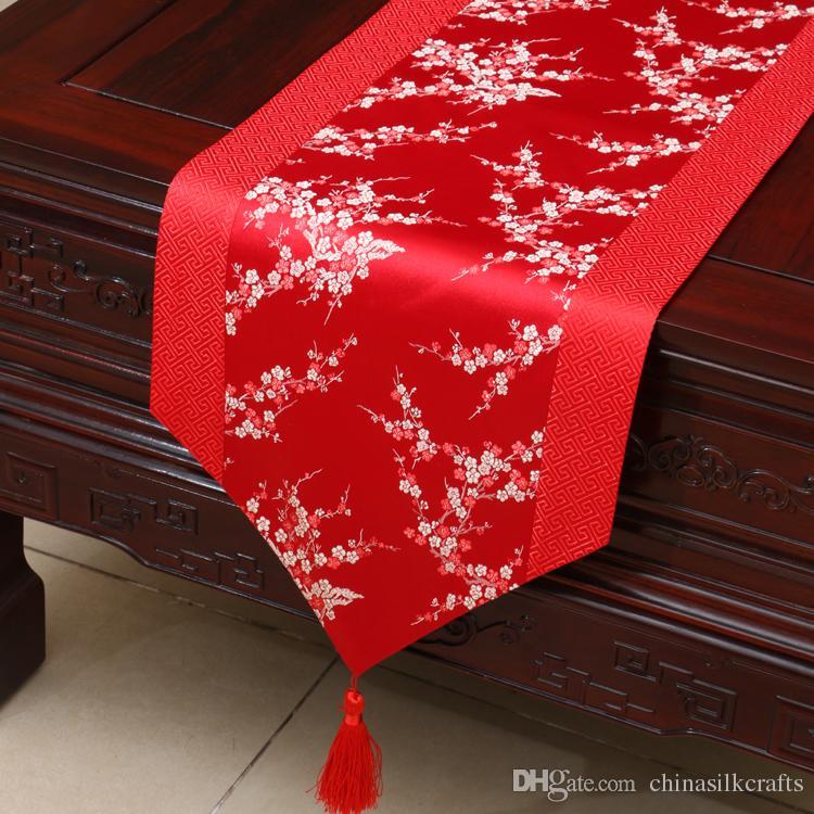 Großhandel Kirschblüten Extra Lange Chinesische Seide Tischläufer ...