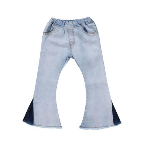 Vintage Toddler Kids Baby Girl Bell-Bottoms Pants Denim Kid Girl Long Jeans Winter Waistband Children Girl Trousers