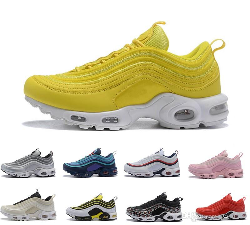 online store c70d6 91fe6 Compre 2018 Air Top 97 Plus TN Plus TN Zapatos Para Correr Triple Blanco  Negro Plata Bullet AH8143 100001 Hombres Zapato Entrenador Maxes Mujer  Zapatillas ...