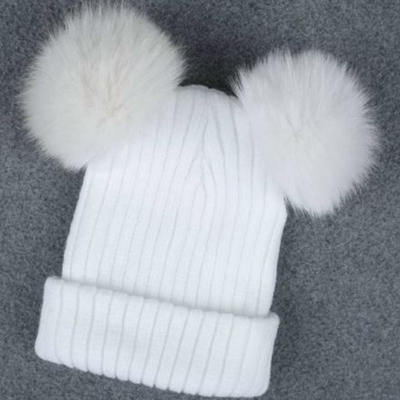 8ad76069f78 Women Double Pom Pom Beanie Hat Autumn Winter Warm Cute Beanie Hat Knitted  Hats Black White BBBYES Canada 2019 From Xiacao