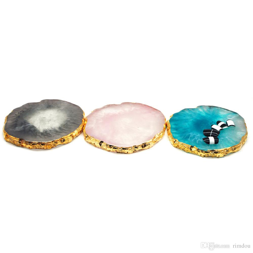 Resin Nail Art Painting Gel Palette Fashion Golden Edge Polish Agate Mix Stir Gem Plate Manicure Accessory New Tool H120