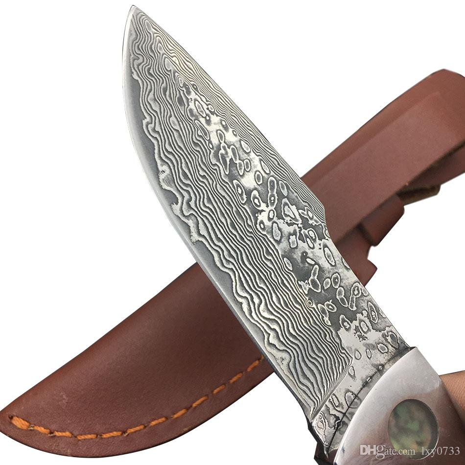 Swayboo Desert man Damascus steel forged straight knife hunting 58HRC hardness outdoor self-defense actical fixed blade knife