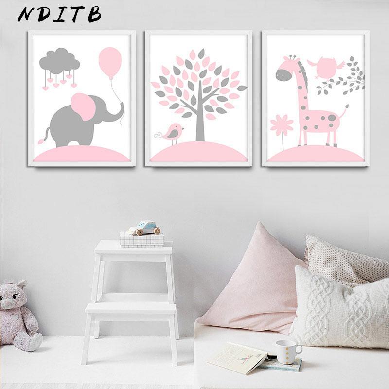 Baby Kinderzimmer Mädchen Wand Kunst Leinwand Poster und Drucke Rosa  Cartoon Malerei Nordic Kinder Dekoration Bild Kinder Schlafzimmer Dekor