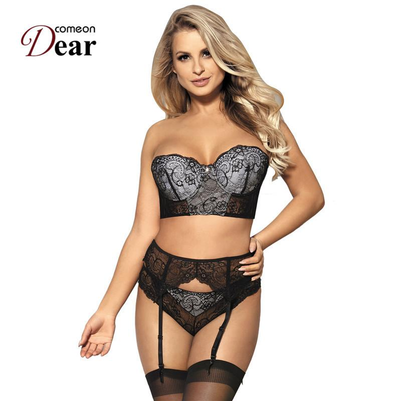 6037818bb Liebe Moda Intima Comeondear Disfraces Sexis Ropa Erotica Plus Size 3 Peça  Conjunto De Sutiã De Renda RK80457 Bra + Garterbelt + Calcinha Tamanho  Grande ...