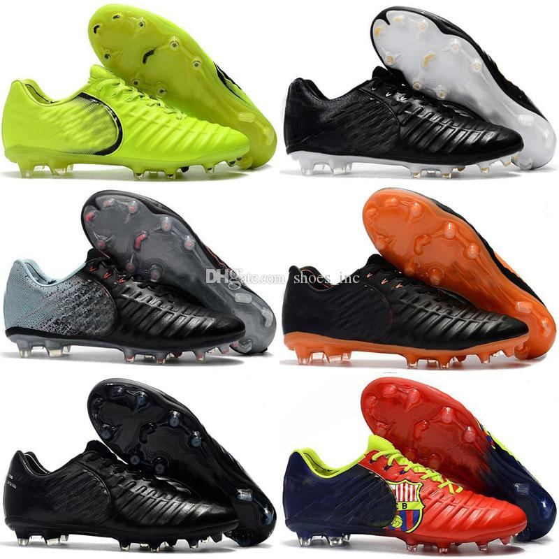 low priced ec298 3fda8 2018 New Arrival Tiempo VII Legend FG 7 CR7 Boots for High quality White  Black Orange Red Green Men Women Football Soccer Shoes Size 36-45