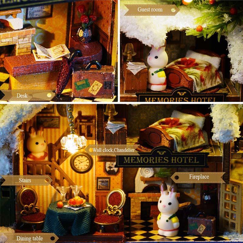 Roam Around in Winter 3D Wooden DIY Handmade Box Theatre Dollhouse Miniature Box Cute Mini Doll House Assemble Kits Gift Toys