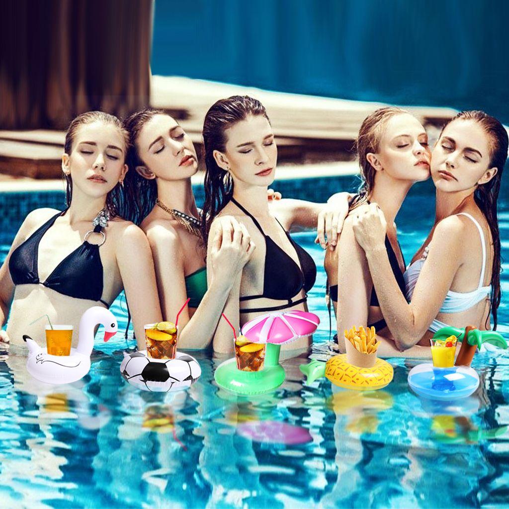 풍선 드링크 홀더 5 개들이 수레 플로트 파티 용 풍선 컵 받침 컵 파티 목욕 완구 백조, 축구, 파인애플, 야자수, 버섯