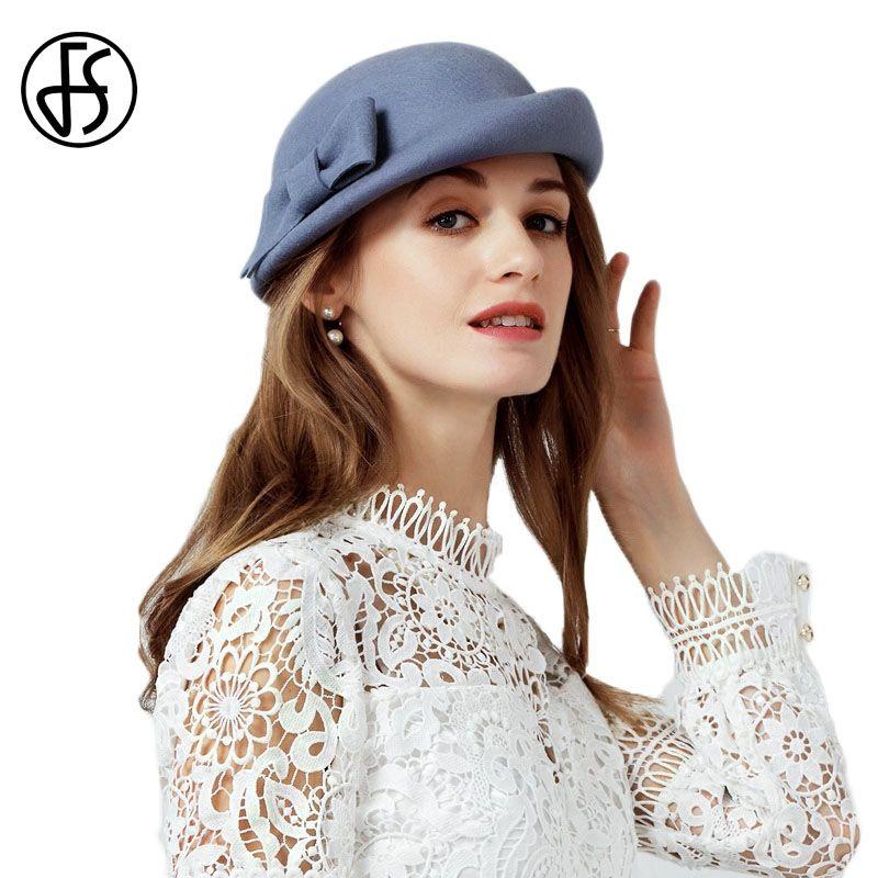 Compre FS Negro Gris 100% Boinas De Lana Vintage Invierno Francés Boina  Mujeres Fieltro Sombreros Fedora Bowknot Artista Damas Top Caps Sombreros  De Otoño A ... ffd413c91fd