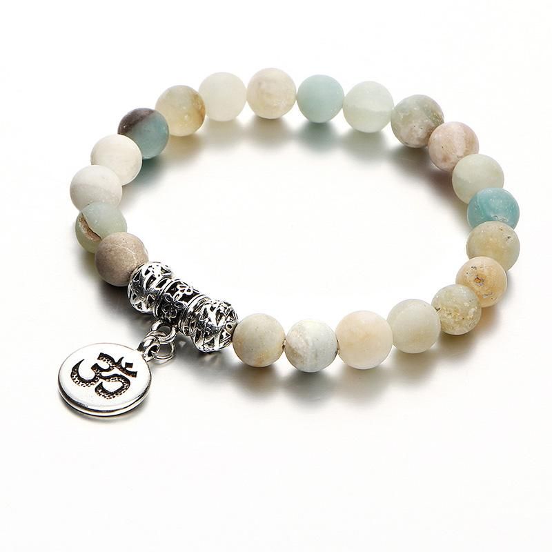 Moda Doğal Taş Boncuk Bilezik Charm Yoga Meditasyon OM Strand Zincir Vintage Gümüş Buda Braclet Unisex Etnik Takı
