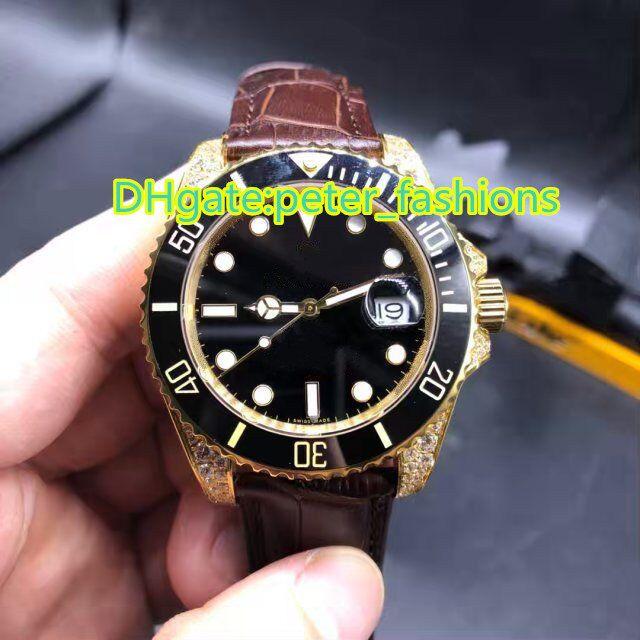985f3f91073f Compre Reloj Para Hombre Automático Correa De Cuero Marrón Reloj De  Diamantes Dorado Relojes De Lujo Negro Para Pulsera Diamante Fecha  Automática Relojes ...