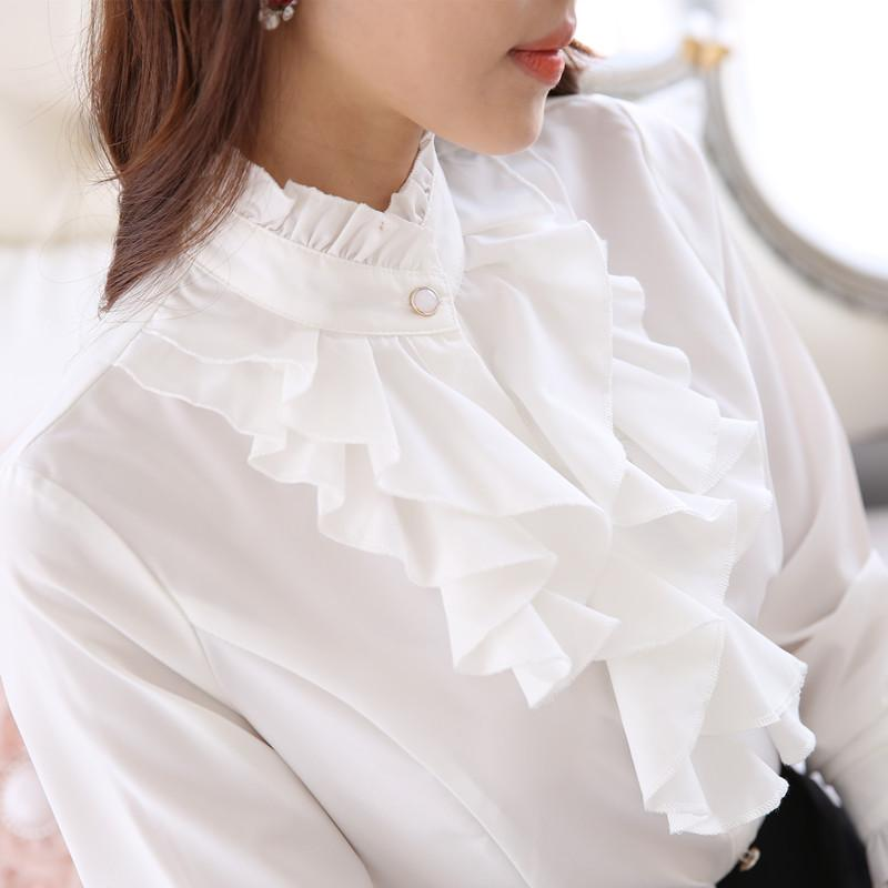 ae12b9d4c4438 2019 Stand Ruffled Collar Tops Women Formal Long Sleeve Slim Waist Purple White  Blouse Office Lady Ruffle Shirts From Icostore