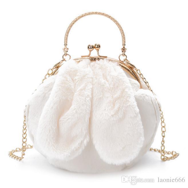 Tide clip de metal portátil de felpa orejas de conejo bolso femenino 2018 otoño e invierno nuevo bolso de hombro femenino paquete diagonal
