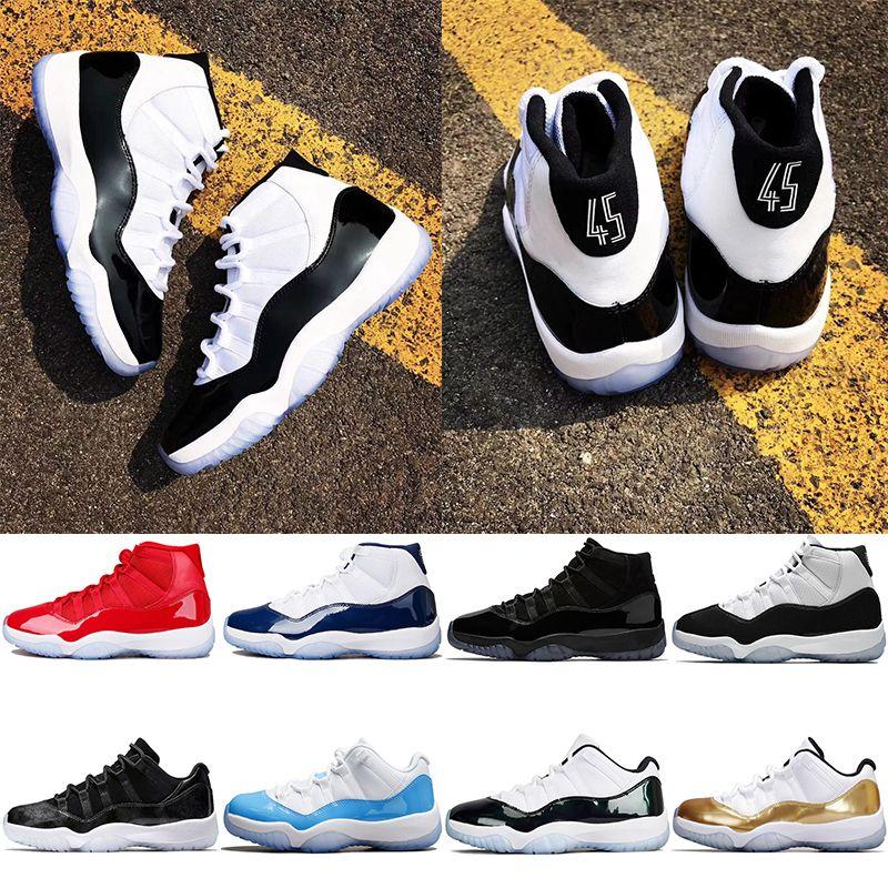 reputable site 81826 4e945 Großhandel Nike Air Jordan Retro Concord 45 Basketball Schuhe 11 11s Männer  Frauen Cap Und Kleid UNC Gym Red Gamma Blau Bread Barons Sport Sneaker  Größe 5.5 ...