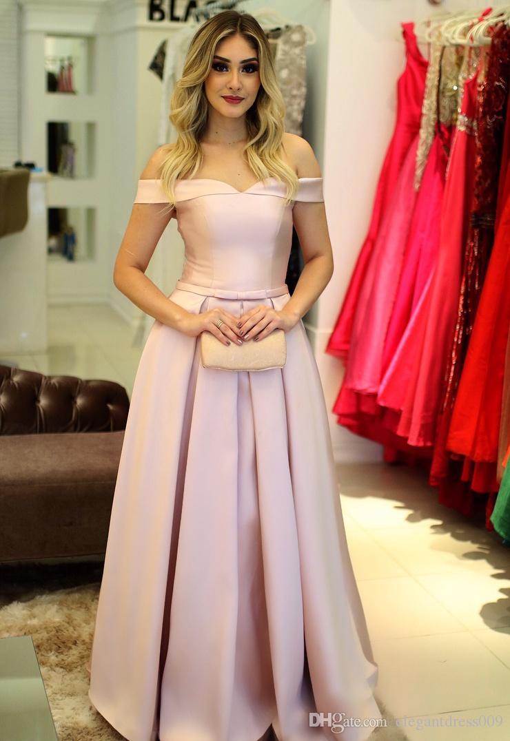 323e83274de0 Off Shoulder Blush Pink 2019 Long Evening Dresses Cheap Long Lace Up Back A  Line Formal Prom Dress Party Gowns Elegant Formal Dress Turquoise Evening  ...