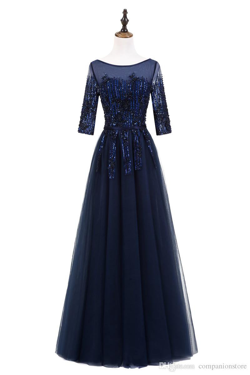 Elegant Navy Blue Tulle and Lace Long Prom Dress Scoop Neck Three Quarter Transparent With Sequined Embroidery Backless Lace Up Ball Gown