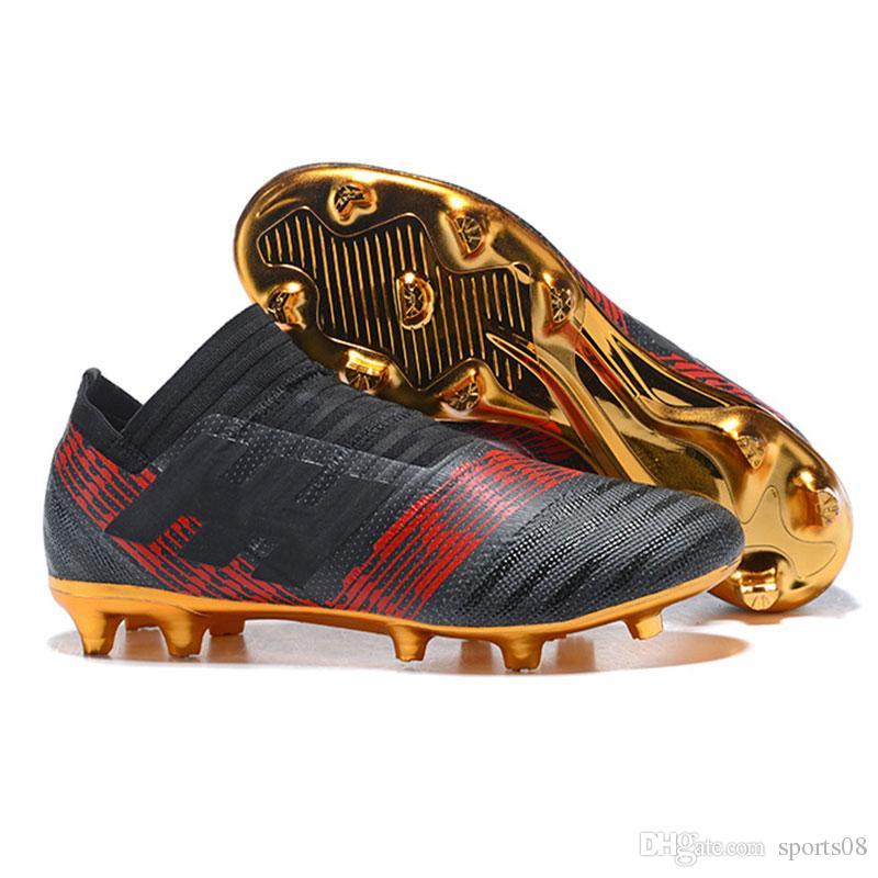 d96ec3caad Compre Chuteiras De Futebol Nemeziz Messi 17 + 360 Agilidade FG Triplo  Preto Pyro Tempestade Magnética Sapatos De Futebol Dos Homens Turf Chuteiras  De ...