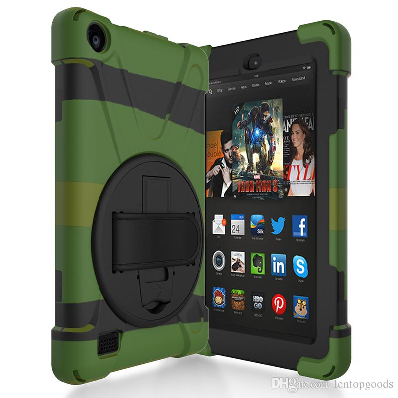 Kids Shockproof Case for Kindle Fire HD 7 inch 2017 Rubber Hard Back Cover with Soft Hand Strap and Holder for Kindle Fire+Pen