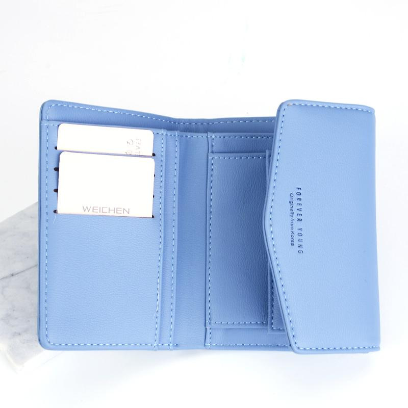 WEICHEN Korean Design Envelope Hasp Short Lady Wallets, Mini Small Women Wallet Purse Soft Leather Crad Holder Coin Bag Cultch