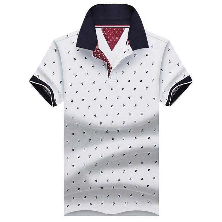 New Brand Polos Mens Printed Polo Shirts 100 Cotton Short Sleeve
