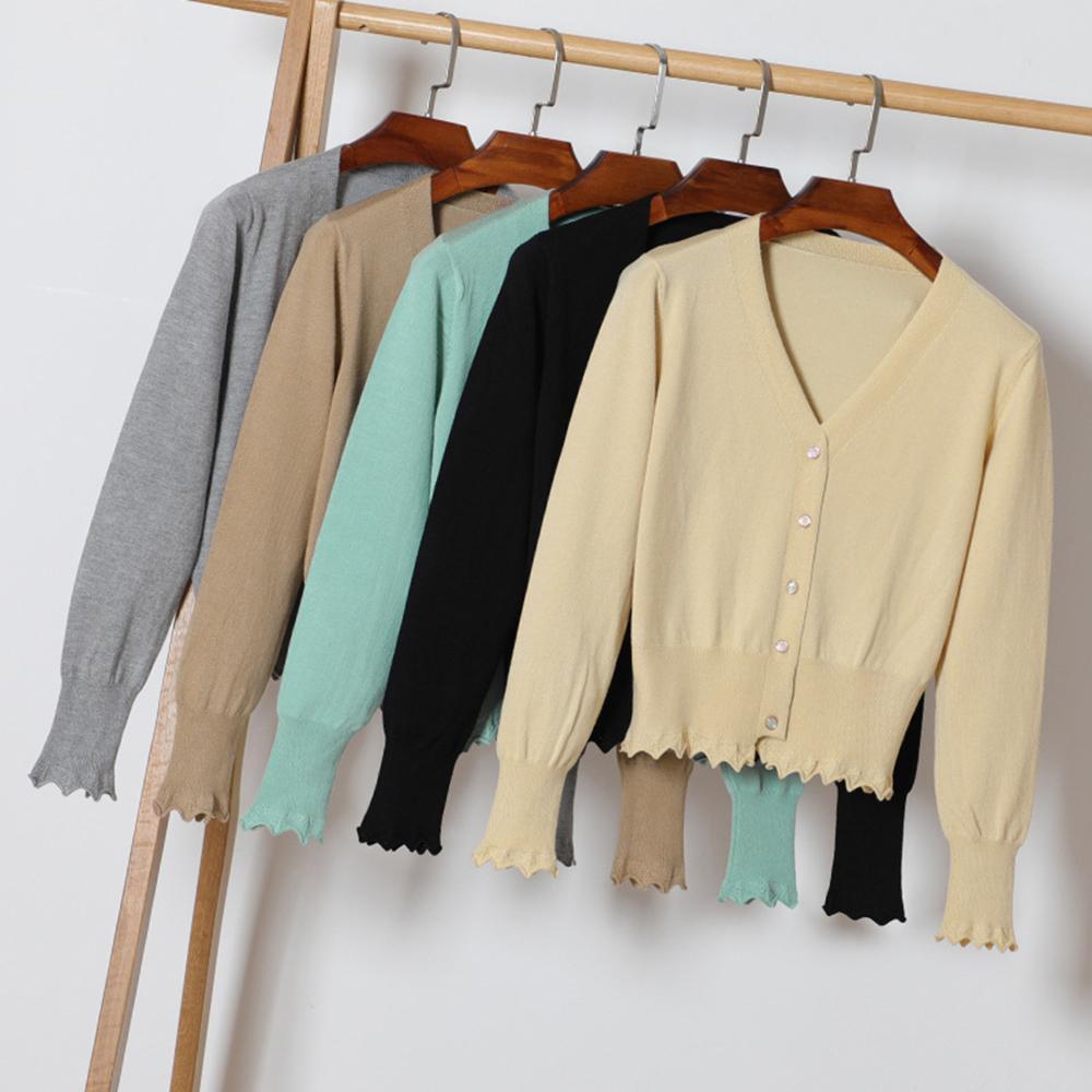 005f326ebd0 2019 Women Casual Cropped Cardigan Sweater Autumn Thin Slim Ruffle Trim  Knitted Crochet Short Sweater Female Fashion Top Cardigans From  Beautyjewly, ...