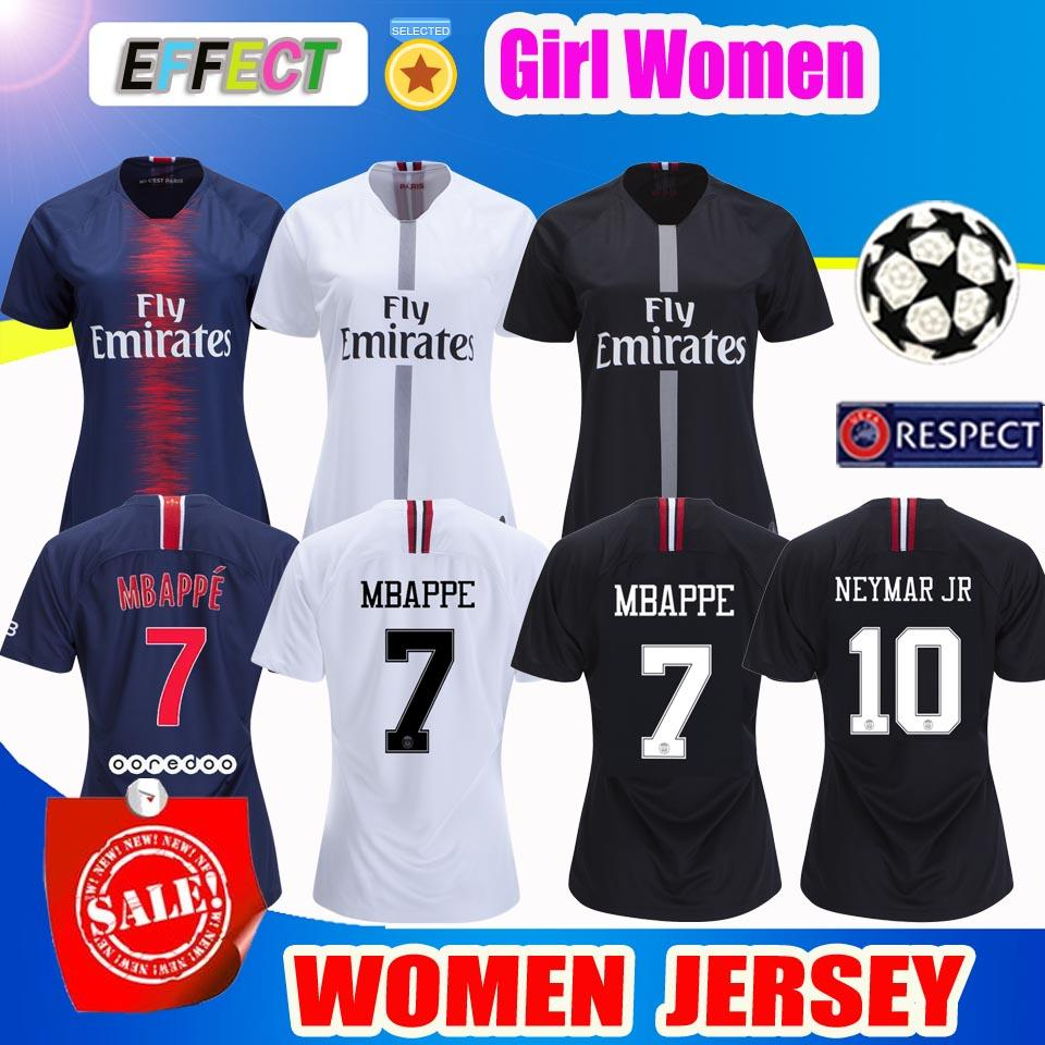 the best attitude 08aab f308e 2019 PSG Women MBAPPE 7# Soccer Jersey kit 18/19 Paris Third Black White  CAVANI Saint Germain Maillot de Foot Football Shirts