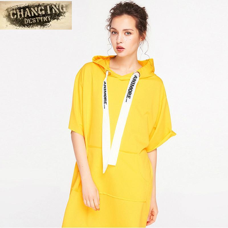 84726f67c581 Acquista 2018 Autunno Donna Fashion Hooded Dress Manica Corta Felpe Con  Cappuccio Con Tasche Nere Nere Grandi Maniche A Cinque Pezzi Casual A   24.13 Dal ...